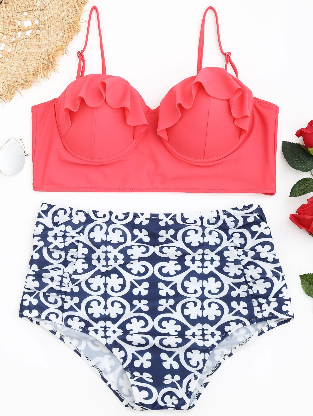 Chic Plus Size Printed Underwire Bikini Set