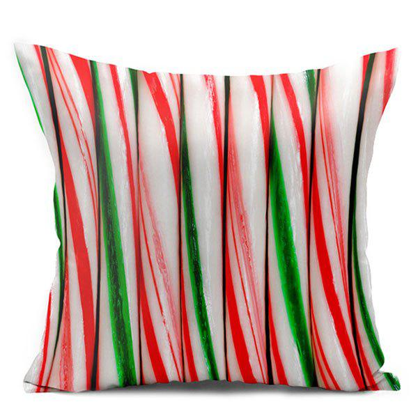 Candy Cane Double Side Printed Decorative Pillow CaseHOME<br><br>Size: W17.5 INCH * L17.5 INCH; Color: COLORFUL; Material: Polyester / Cotton; Pattern: Printed; Style: Modern/Contemporary; Shape: Square; Weight: 0.1000kg; Package Contents: 1 x Pillowcase;