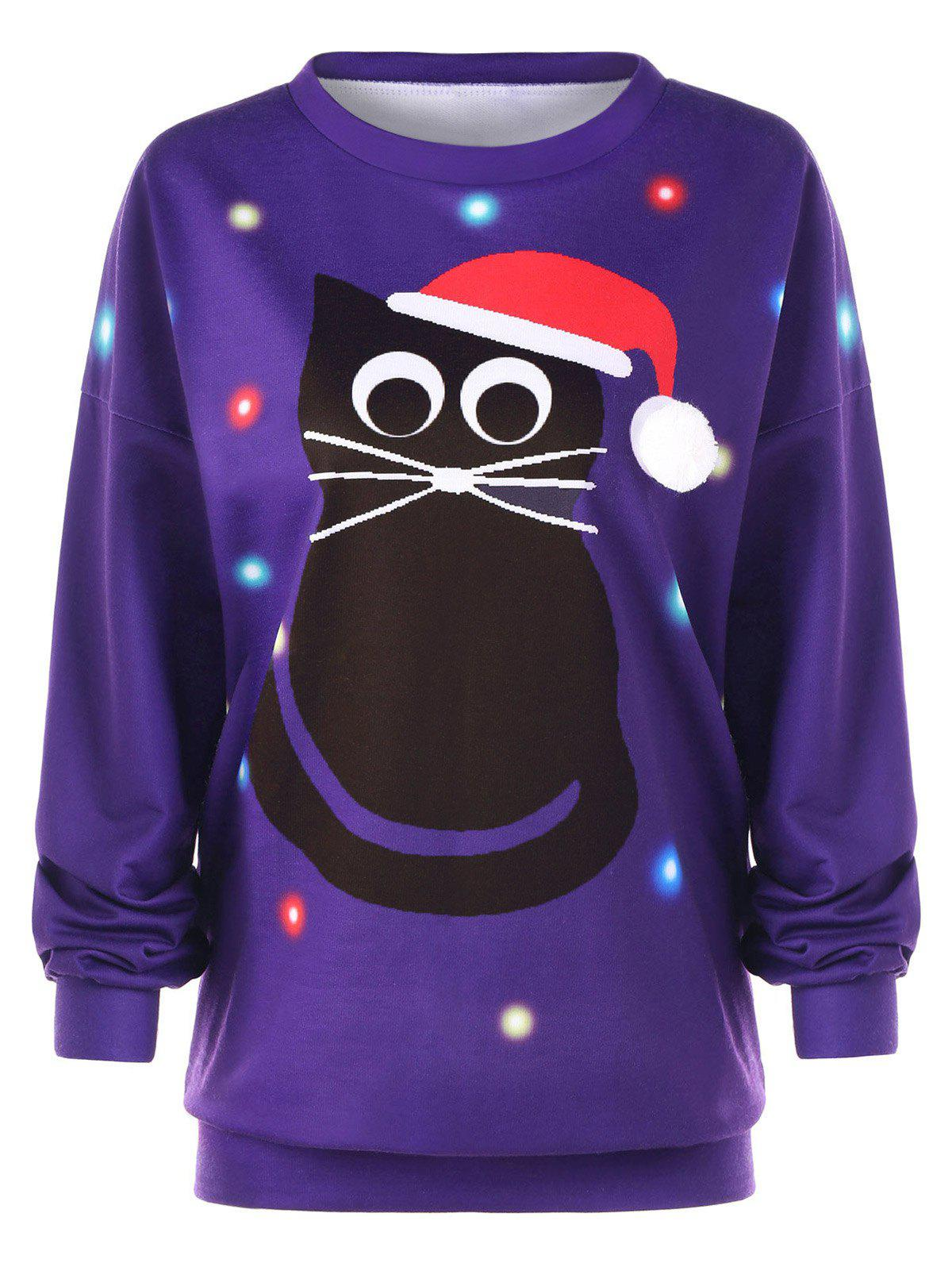 Plus Size Pullover Cat Print Drop Shoulder Christmas SweatshirtWOMEN<br><br>Size: 2XL; Color: PURPLE; Material: Polyester,Spandex; Shirt Length: Regular; Sleeve Length: Full; Style: Fashion; Pattern Style: Character; Season: Fall,Winter; Weight: 0.7000kg; Package Contents: 1 x Sweatshirt;