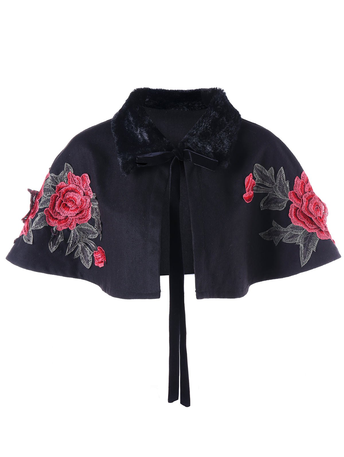 Faux Fur Panel Plus Size Embroidery ShrugWOMEN<br><br>Size: 5XL; Color: BLACK; Clothes Type: Fur &amp; Faux Fur; Material: Polyester; Type: Wide-waisted; Shirt Length: Short; Sleeve Length: Short; Collar: Lapel; Pattern Type: Floral; Embellishment: Embroidery; Style: Fashion; Season: Fall,Winter; Weight: 0.3310kg; Package Contents: 1 x Shrug;