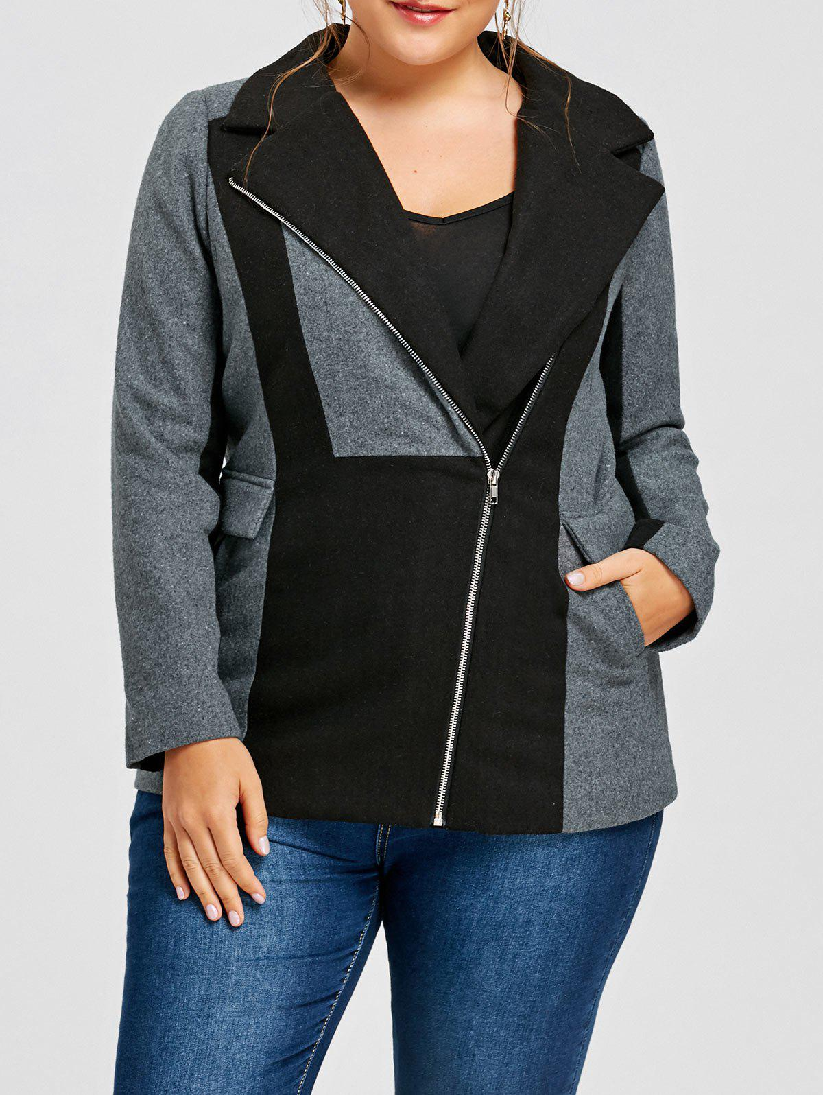 Cheap Plus Size Lapel Collar Zippered Color Block Jacket