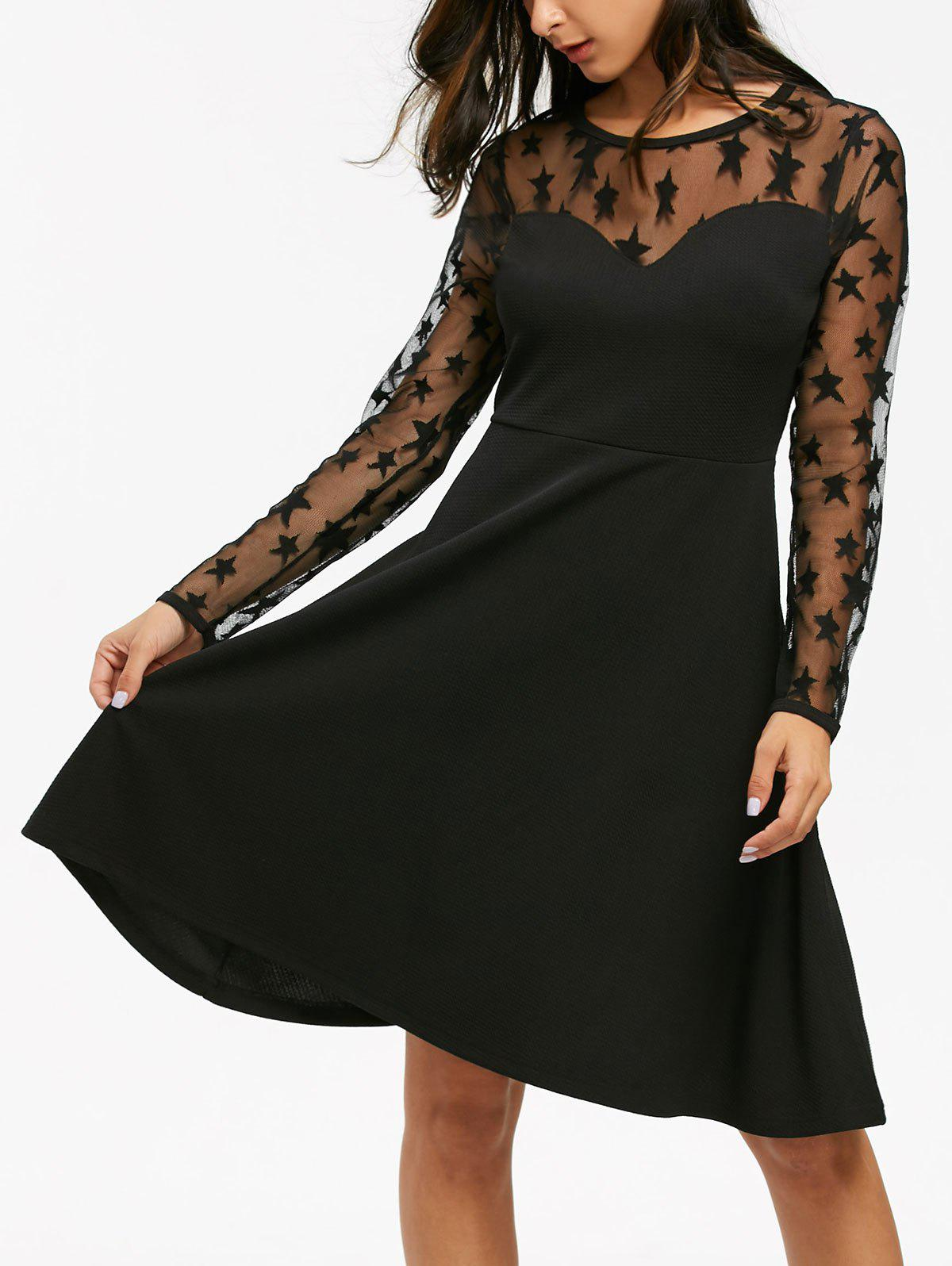 Online Starry Mesh Panel High Waist Flare Dress