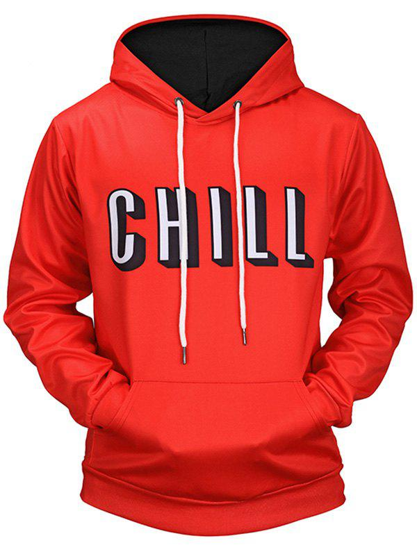 Chill Print Kangaroo Pocket Pullover HoodieMEN<br><br>Size: L; Color: RED; Material: Polyester,Spandex; Clothes Type: Hoodie; Shirt Length: Regular; Sleeve Length: Full; Style: Casual; Patterns: Letter; Thickness: Regular; Occasion: Casual; Weight: 0.5100kg; Package Contents: 1 x Hoodie;