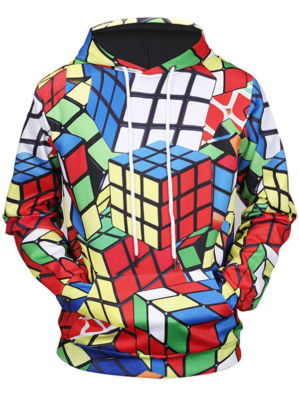 Kangaroo Pocket Rubiks Cube Print HoodieMEN<br><br>Size: M; Color: COLORMIX; Material: Polyester,Spandex; Clothes Type: Hoodie; Shirt Length: Regular; Sleeve Length: Full; Style: Casual; Patterns: Print; Thickness: Regular; Occasion: Casual; Weight: 0.5100kg; Package Contents: 1 x Hoodie;
