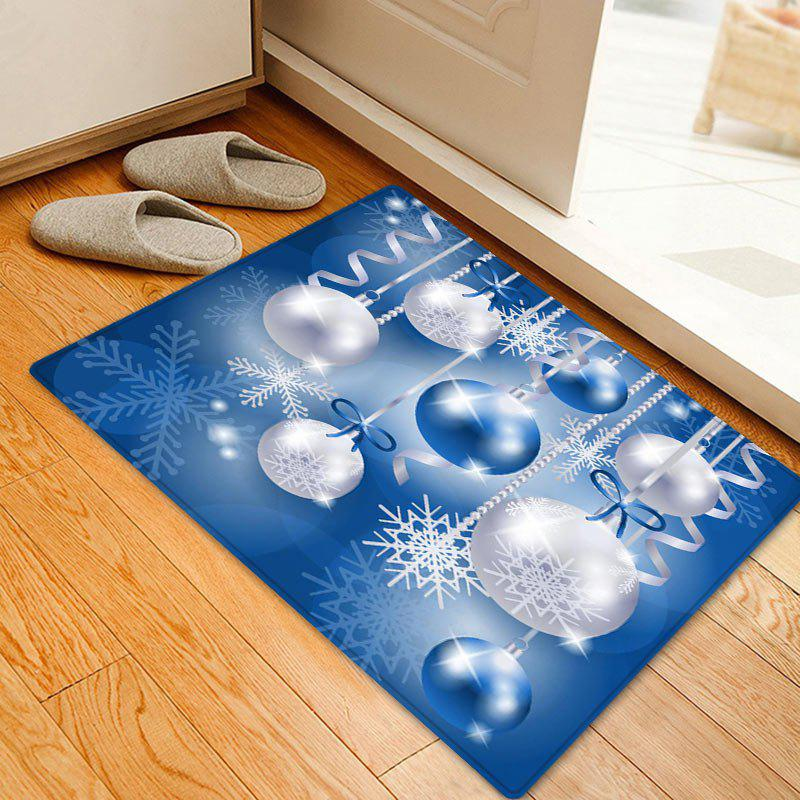 Christmas Baubles Snowflake Pattern Anti-skid Water Absorption Area RugHOME<br><br>Size: W16 INCH * L24 INCH; Color: BLUE; Products Type: Bath rugs; Materials: Coral FLeece; Pattern: Ball; Style: Festival; Shape: Rectangle; Package Contents: 1 x Rug;