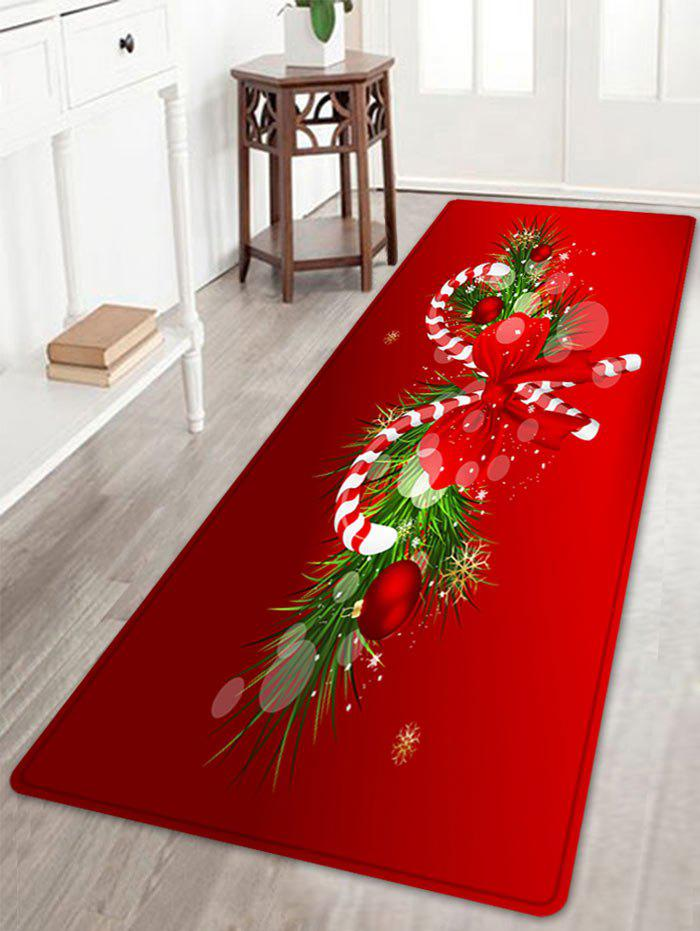 Christmas Candy Cane Pattern Anti-skid Water Absorption Area RugHOME<br><br>Size: W24 INCH * L71 INCH; Color: RED; Products Type: Bath rugs; Materials: Coral FLeece; Pattern: Bowknot,Plant; Style: Festival; Shape: Rectangle; Package Contents: 1 x Rug;