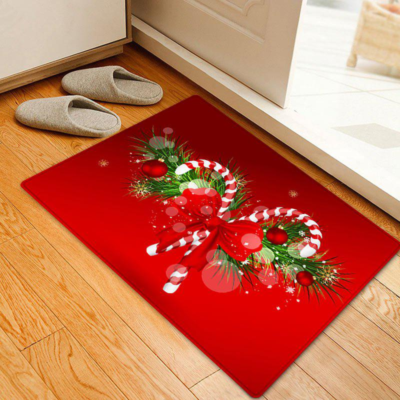 Christmas Candy Cane Pattern Anti-skid Water Absorption Area RugHOME<br><br>Size: W16 INCH * L24 INCH; Color: RED; Products Type: Bath rugs; Materials: Coral FLeece; Pattern: Bowknot,Plant; Style: Festival; Shape: Rectangle; Package Contents: 1 x Rug;