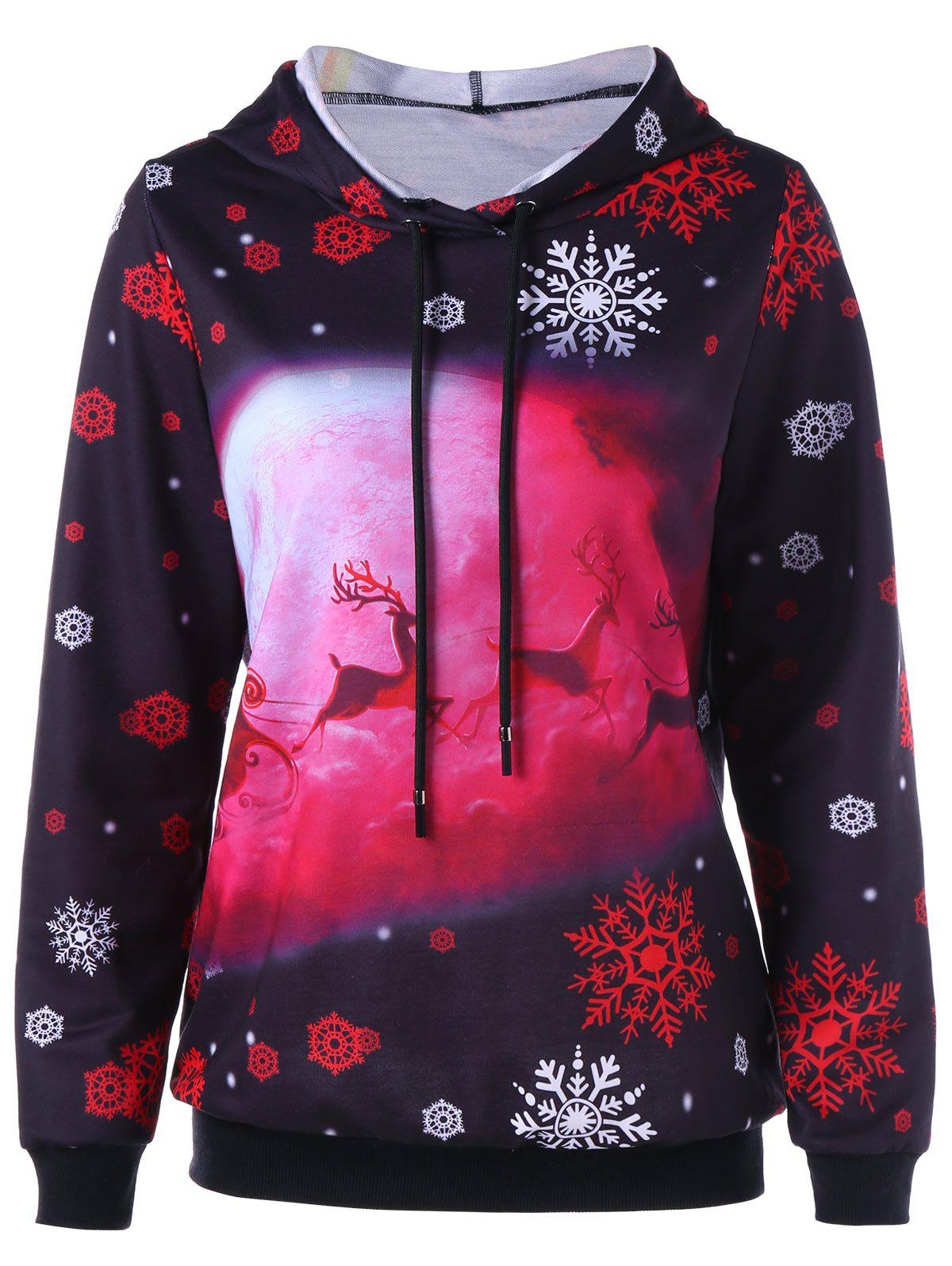 Christmas Snowflake and Deer Print HoodieWOMEN<br><br>Size: M; Color: BLACK; Material: Polyester; Shirt Length: Regular; Sleeve Length: Full; Style: Casual; Pattern Style: Print; Season: Fall,Spring; Weight: 0.3930kg; Package Contents: 1 x Hoodie;