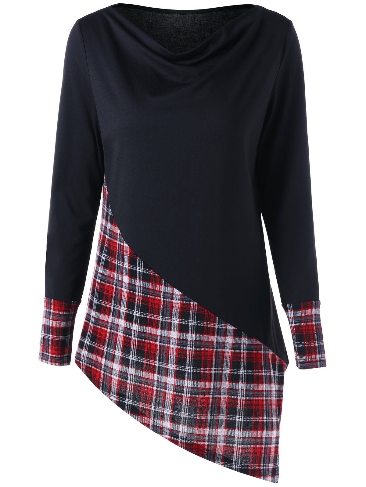 Long Sleeve Plaid Panel Asymmetric TopWOMEN<br><br>Size: 2XL; Color: BLACK&amp;RED; Material: Polyester,Spandex; Shirt Length: Long; Sleeve Length: Full; Collar: Cowl Neck; Style: Fashion; Pattern Type: Plaid; Season: Fall,Spring; Weight: 0.2830kg; Package Contents: 1 x Top;