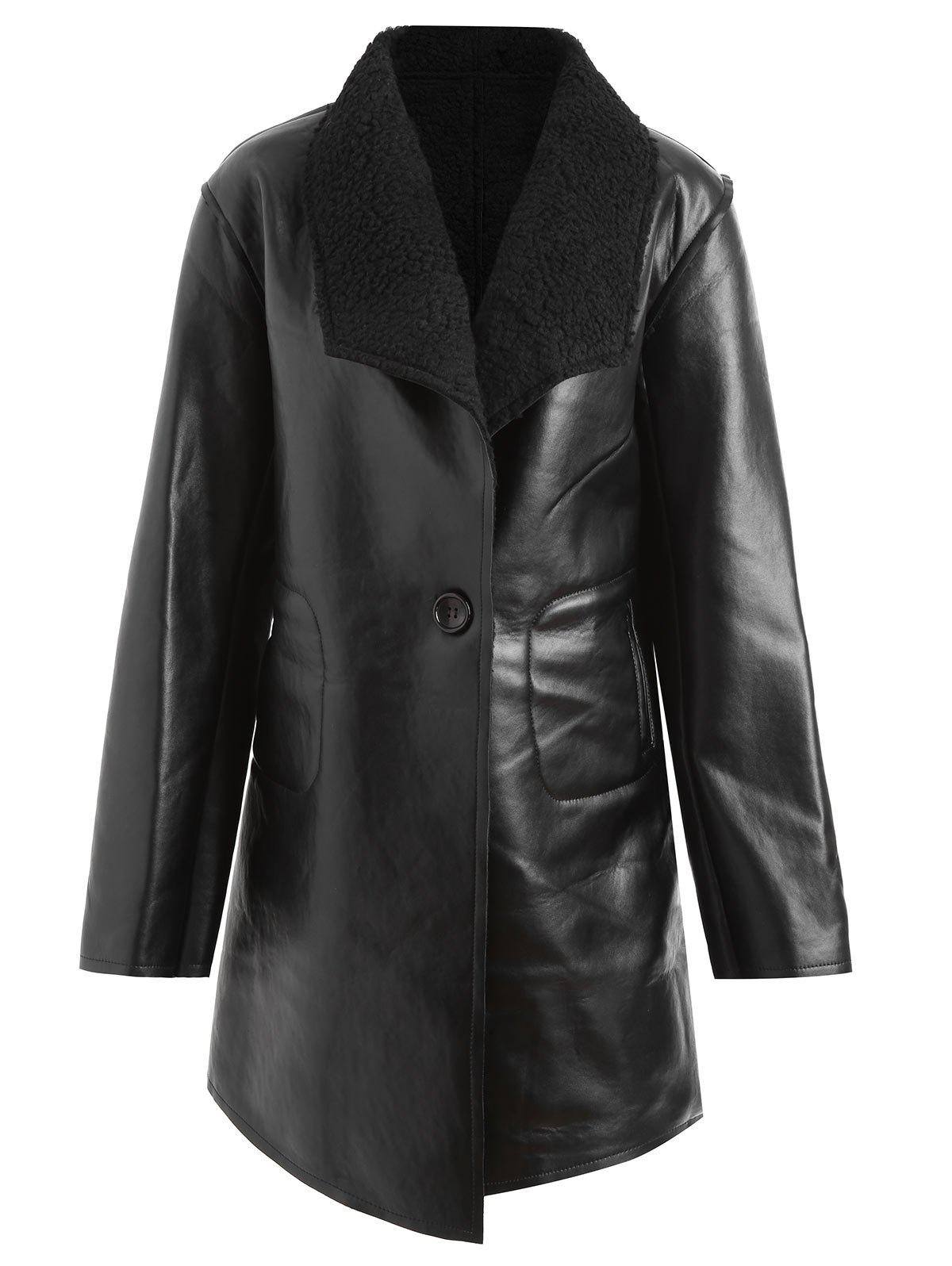 Affordable Faux Leather Lapel Plus Size Coat