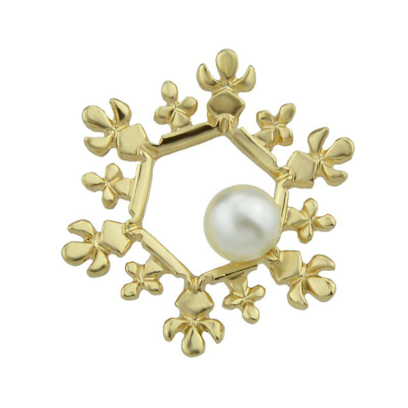 Sale Faux Pearl Christmas Hexagon Snowflake Brooch