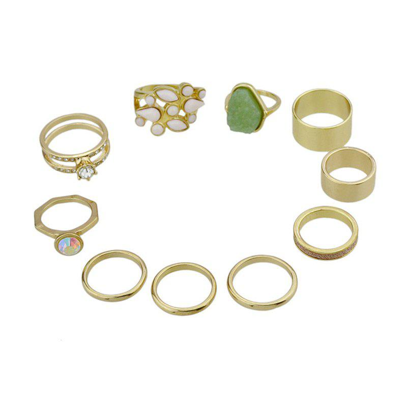 Vintage Faux Jade Rhinestoned Finger Ring SetJEWELRY<br><br>Color: GOLDEN; Gender: For Women; Metal Type: Alloy; Style: Trendy; Shape/Pattern: Round; Weight: 0.0500kg; Package Contents: 10 x Rings (Piece);