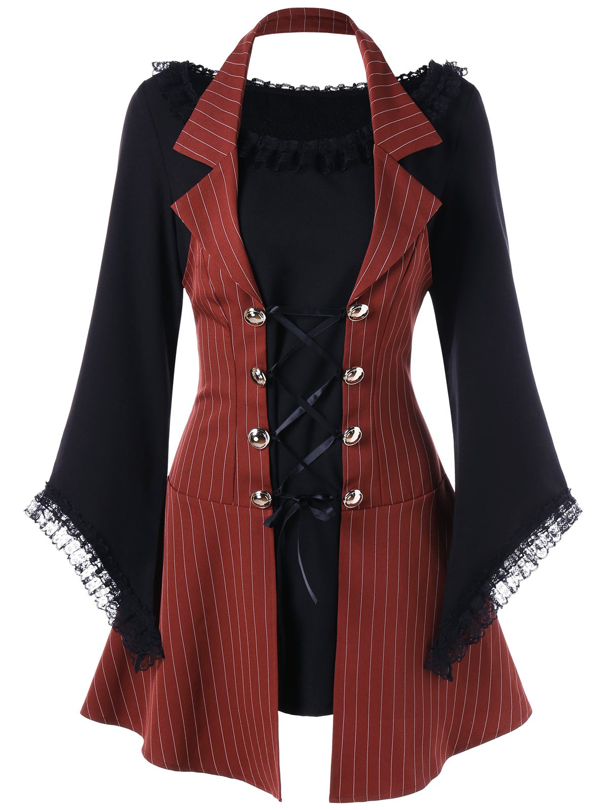 Striped Halter Faux Twinset Lace Up Mini DressWOMEN<br><br>Size: M; Color: DARK RED; Style: Brief; Material: Polyester; Silhouette: A-Line; Dresses Length: Mini; Neckline: Halter; Sleeve Length: Long Sleeves; Pattern Type: Patchwork,Striped; With Belt: No; Season: Fall,Spring; Weight: 0.3700kg; Package Contents: 1 x Dress;