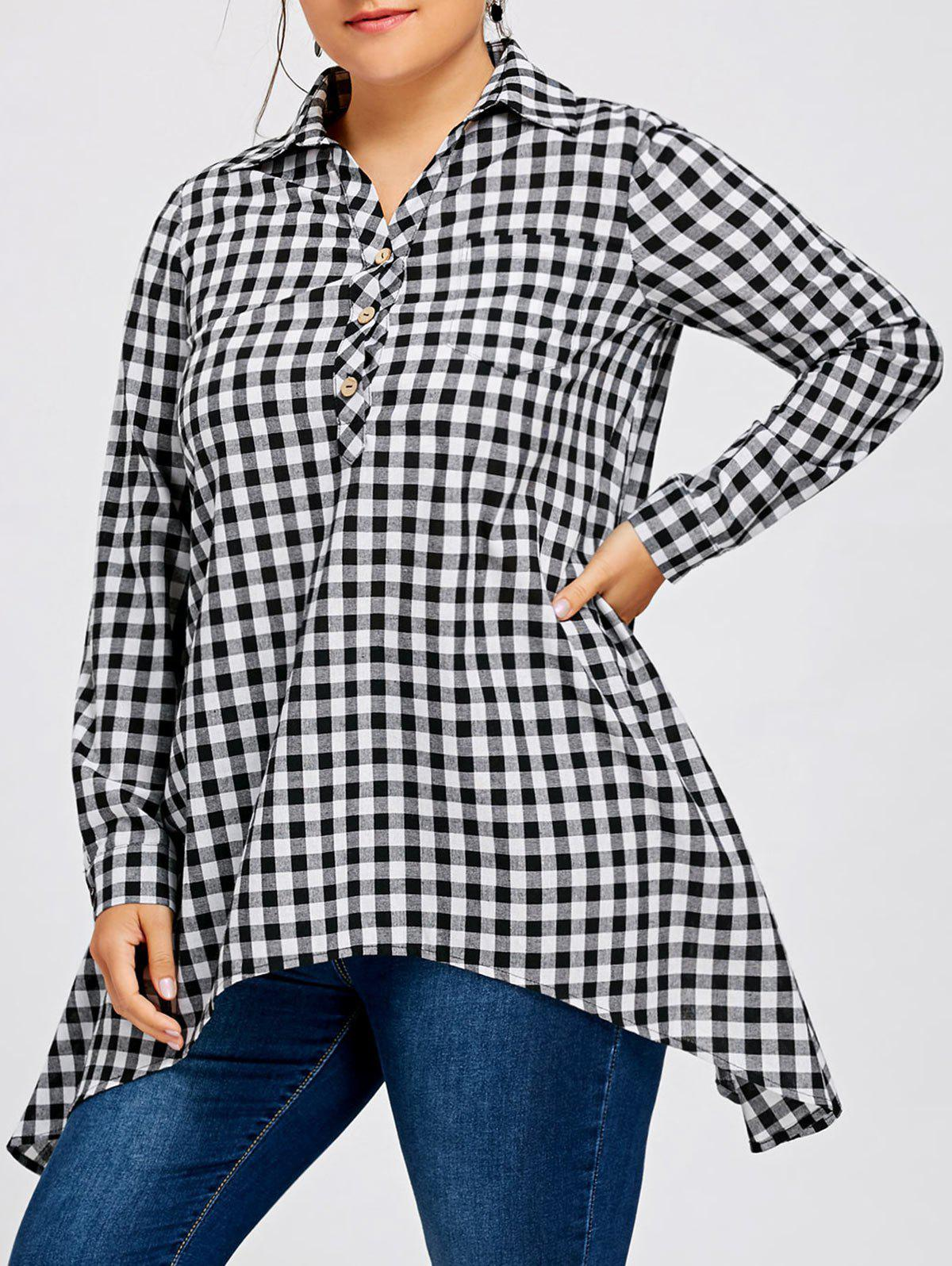 Plus Size Asymmetric Plaid Long Sleeve Shirt with PocketWOMEN<br><br>Size: 3XL; Color: CHECKED; Material: Polyester,Spandex; Shirt Length: Long; Sleeve Length: Full; Collar: Shirt Collar; Style: Casual; Season: Fall,Spring; Embellishment: Button,Pockets; Pattern Type: Plaid; Weight: 0.3000kg; Package Contents: 1 x Shirt;