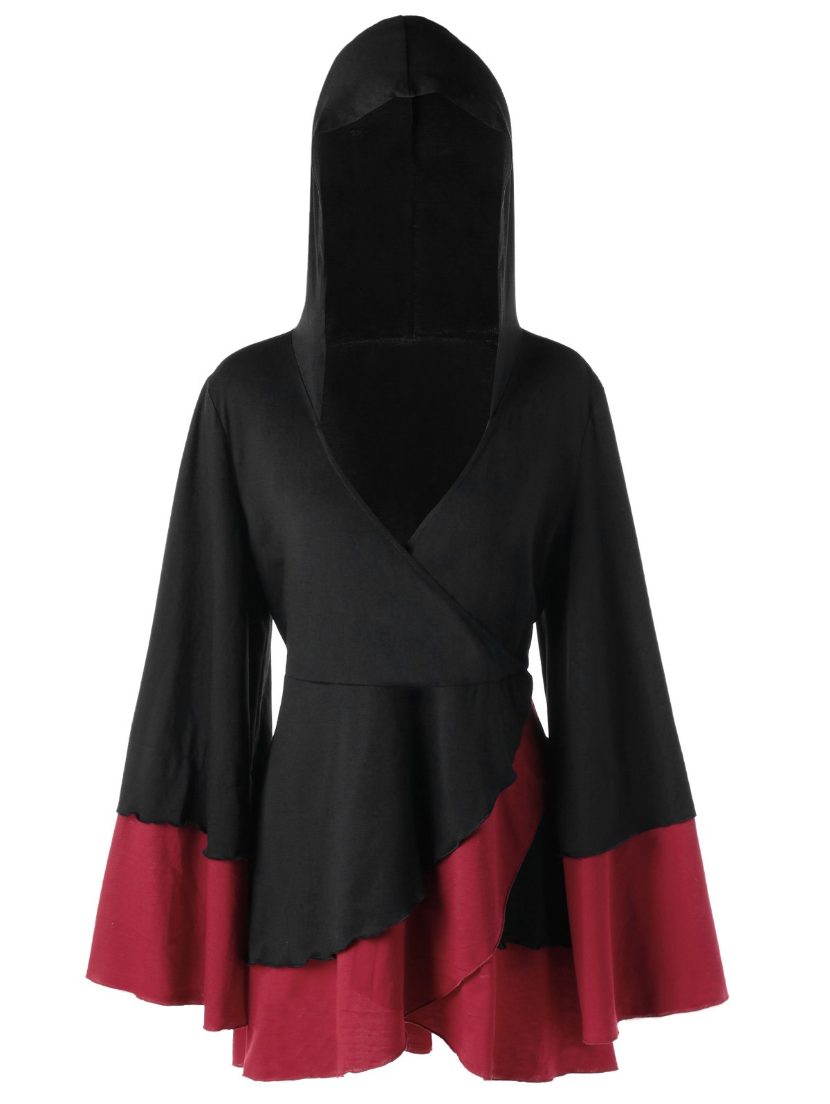 Plus Size Overlap Two Tone Hooded TopWOMEN<br><br>Size: 5XL; Color: RED WITH BLACK; Material: Polyester,Spandex; Shirt Length: Long; Sleeve Length: Full; Collar: Hooded; Style: Casual; Season: Fall,Spring; Pattern Type: Solid; Weight: 0.6000kg; Package Contents: 1 x Top;