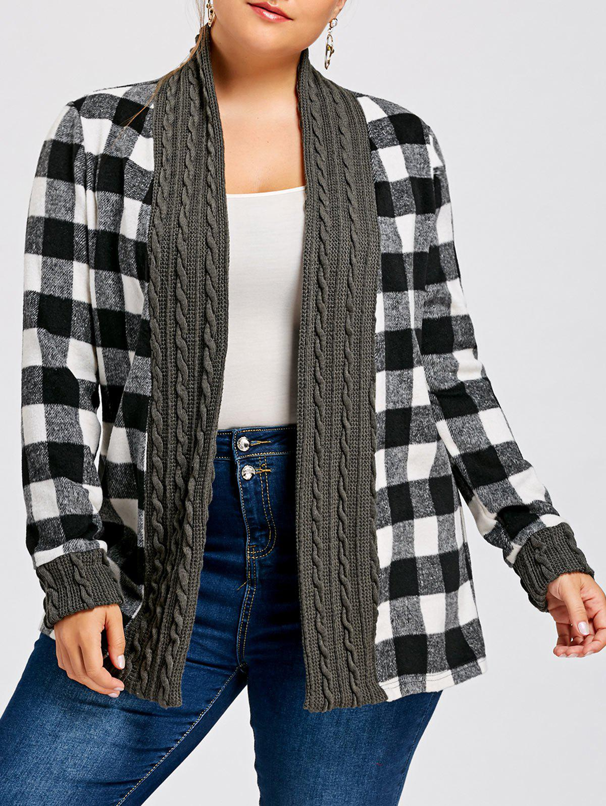 Plus Size Plaid Long Sleeve Shawl Collar CardiganWOMEN<br><br>Size: 4XL; Color: CHECKED; Type: Cardigans; Material: Cotton,Polyester; Sleeve Length: Full; Collar: Shawl Collar; Style: Casual; Season: Fall,Spring,Winter; Pattern Type: Plaid; Weight: 0.5500kg; Package Contents: 1 x Cardigan;