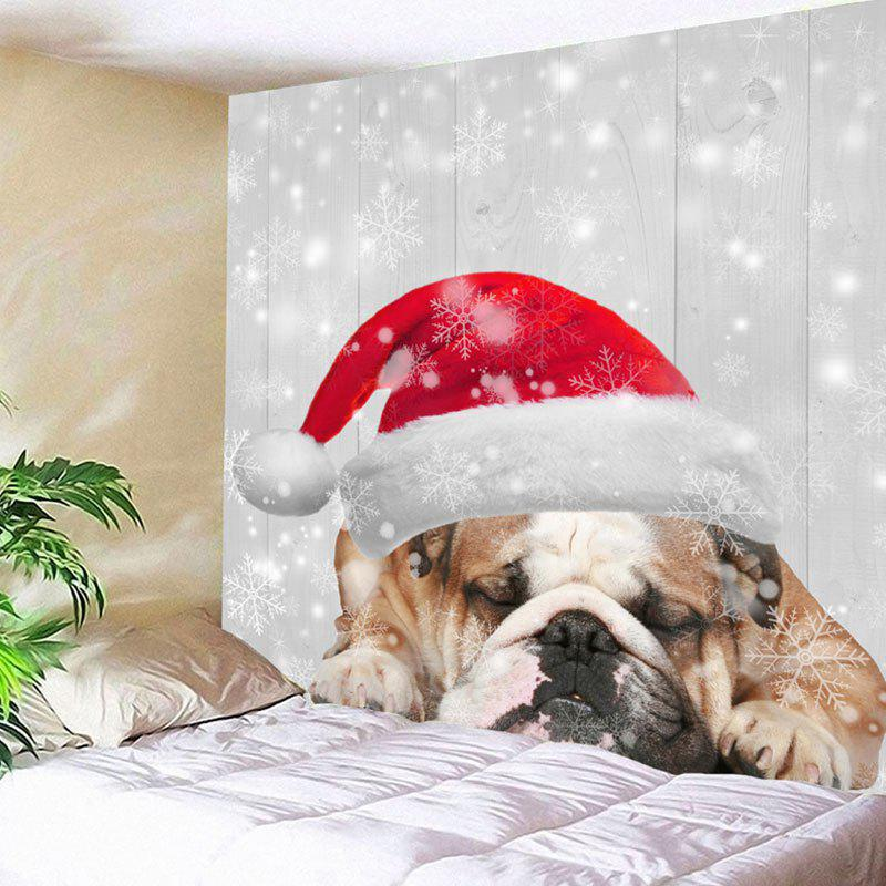 Wall Hanging Christmas Dog Print TapestryHOME<br><br>Size: W79 INCH * L59 INCH; Color: WHITE GREY; Style: Festival; Theme: Christmas; Material: Nylon,Polyester; Feature: Removable,Washable; Shape/Pattern: Animal; Weight: 0.2700kg; Package Contents: 1 x Tapestry;