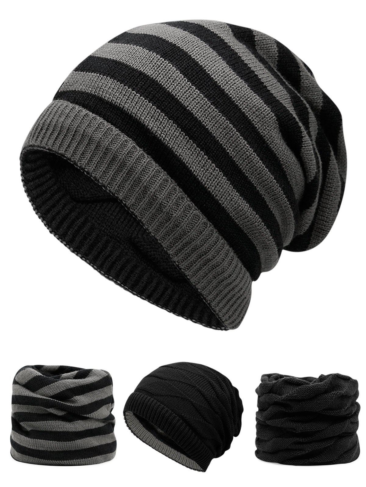 Outdoor Ponytail Hole Embellished Reversible Knit Beanie HatACCESSORIES<br><br>Color: BLACK; Hat Type: Skullies Beanie; Group: Adult; Gender: For Men; Style: Fashion; Pattern Type: Others; Material: Acrylic; Weight: 0.1200kg; Package Contents: 1 x Hat;