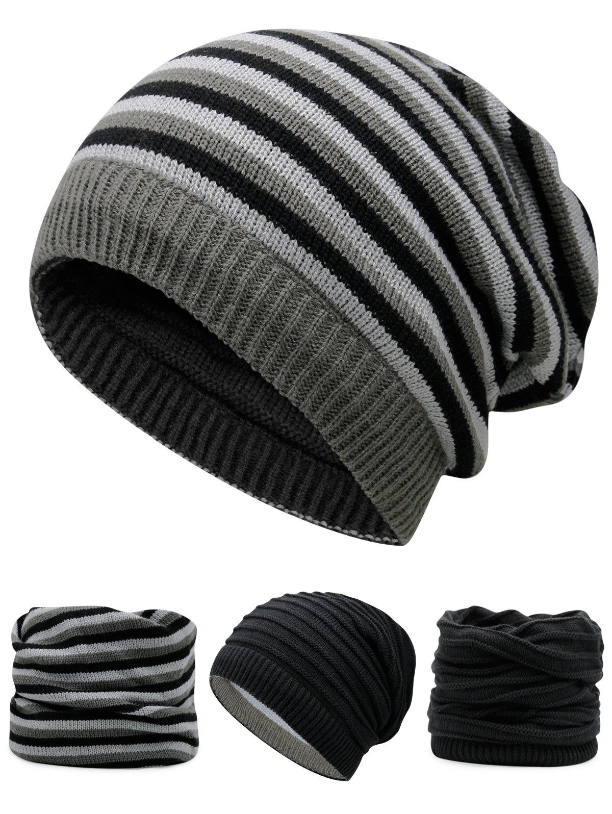 Outdoor Reversible Crochet Knitted Open Top BeanieACCESSORIES<br><br>Color: BLACK; Hat Type: Skullies Beanie; Group: Adult; Gender: For Men; Style: Fashion; Pattern Type: Others; Material: Acrylic; Weight: 0.1200kg; Package Contents: 1 x Hat;