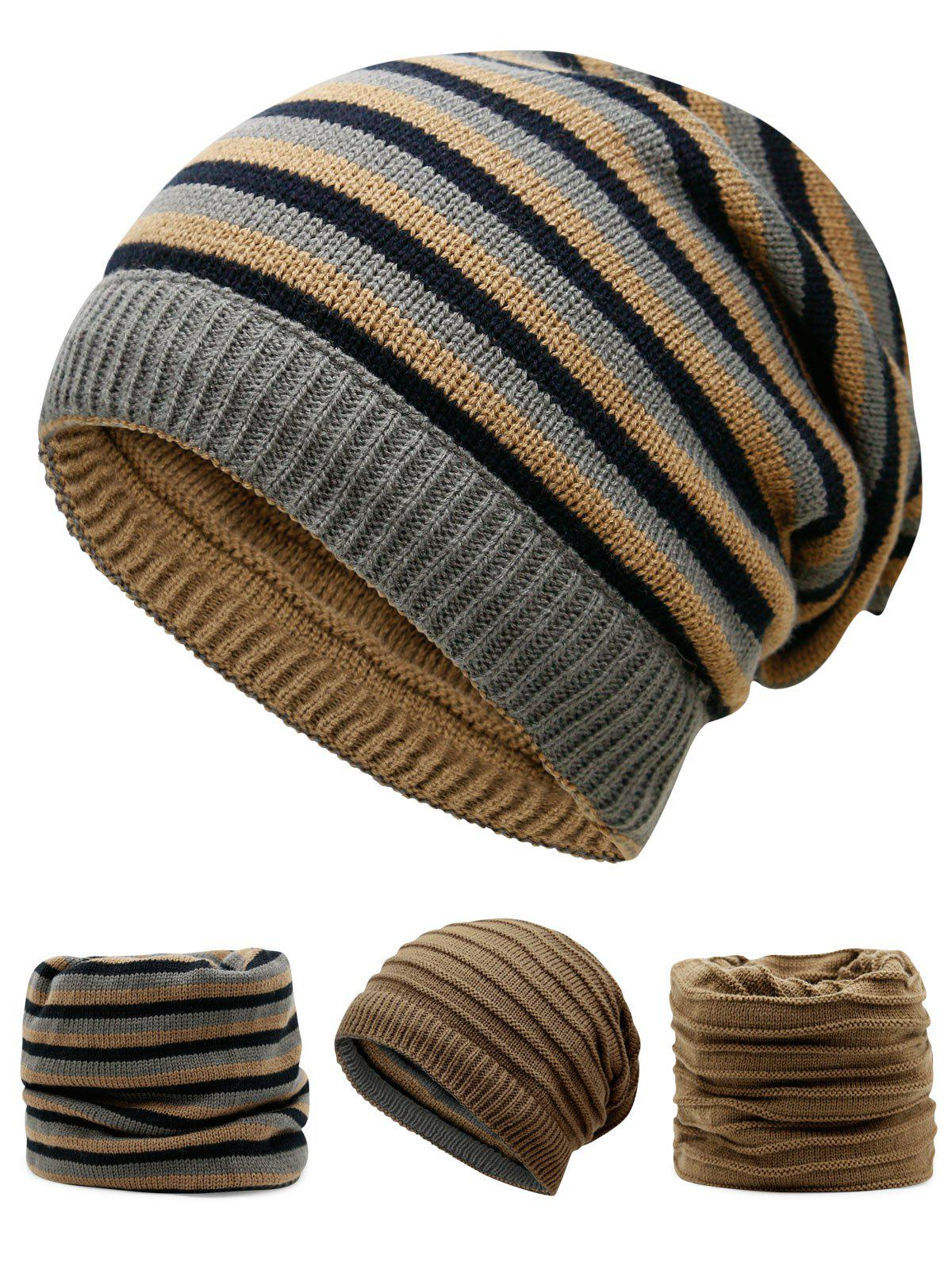 Outdoor Reversible Crochet Knitted Open Top BeanieACCESSORIES<br><br>Color: KHAKI; Hat Type: Skullies Beanie; Group: Adult; Gender: For Men; Style: Fashion; Pattern Type: Others; Material: Acrylic; Weight: 0.1200kg; Package Contents: 1 x Hat;