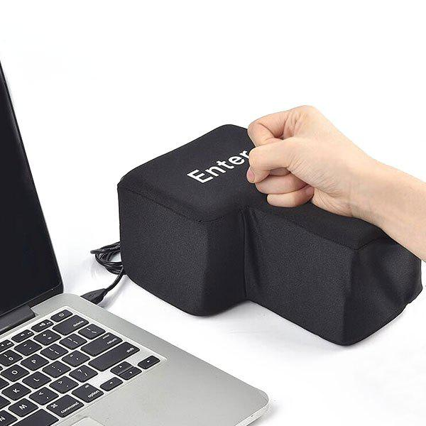 USB Big Enter Key Vent Toy Nap PillowHOME<br><br>Color: BLACK; Products Type: Big Enter Key Stress Relief Toy Pillow; Style: Fashion; Material: Sponge; Package Contents: 1 x Enter Key Stress Relief Toy;