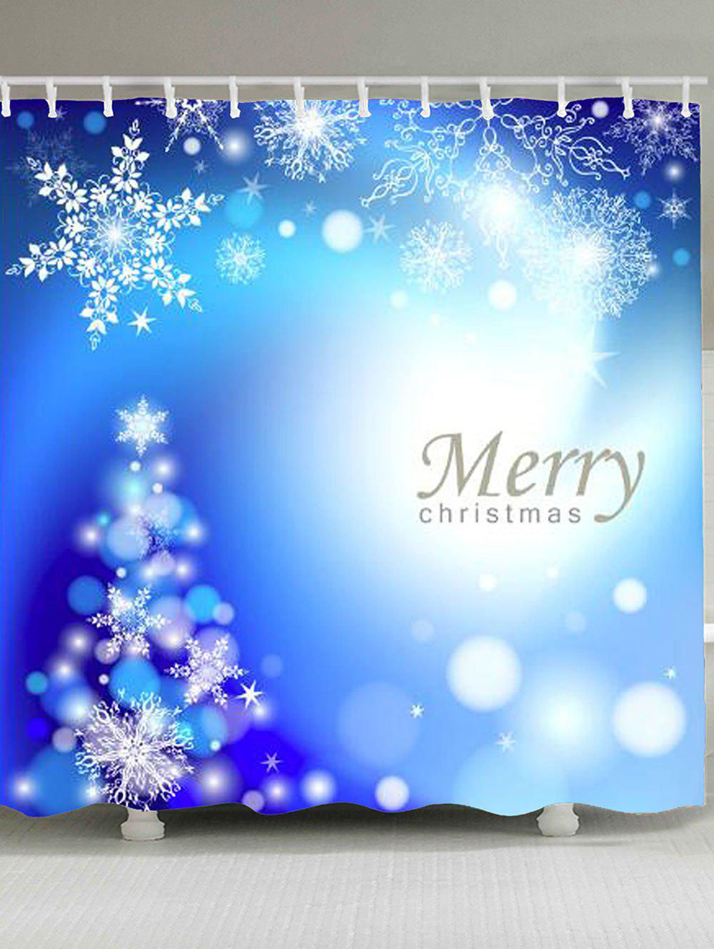 Christmas Snowflakes Patterned Shower Bath CurtainHOME<br><br>Size: W71 INCH * L71 INCH; Color: BLUE; Products Type: Shower Curtains; Materials: Polyester; Pattern: Snowflake; Style: Festival; Number of Hook Holes: W59 inch * L71 inch:10, W71 inch * L71 inch:12, W71 inch * L79 inch:12; Package Contents: 1 x Shower Curtain 1 x Hooks (Set);