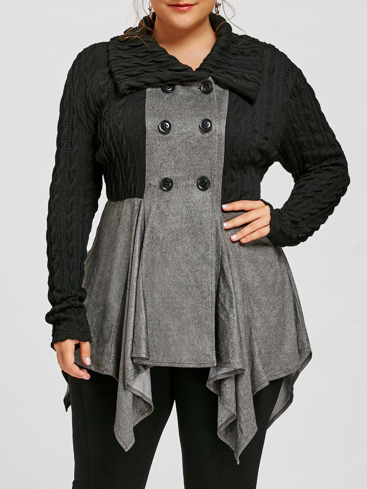 Plus Size Double Breasted Cable Knit CoatWOMEN<br><br>Size: 5XL; Color: GRAY; Clothes Type: Others; Material: Polyester,Spandex; Type: Slim; Shirt Length: Long; Sleeve Length: Full; Collar: Turn-down Collar; Pattern Type: Solid; Embellishment: Button; Style: Casual; Season: Fall,Spring; Weight: 0.5700kg; Package Contents: 1 x Coat;