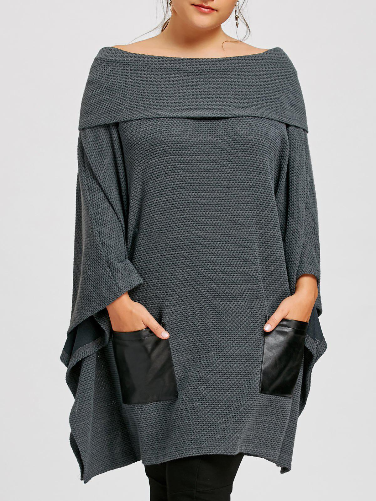 Affordable Plus Size Off The Shoulder Batwing Sleeve Top