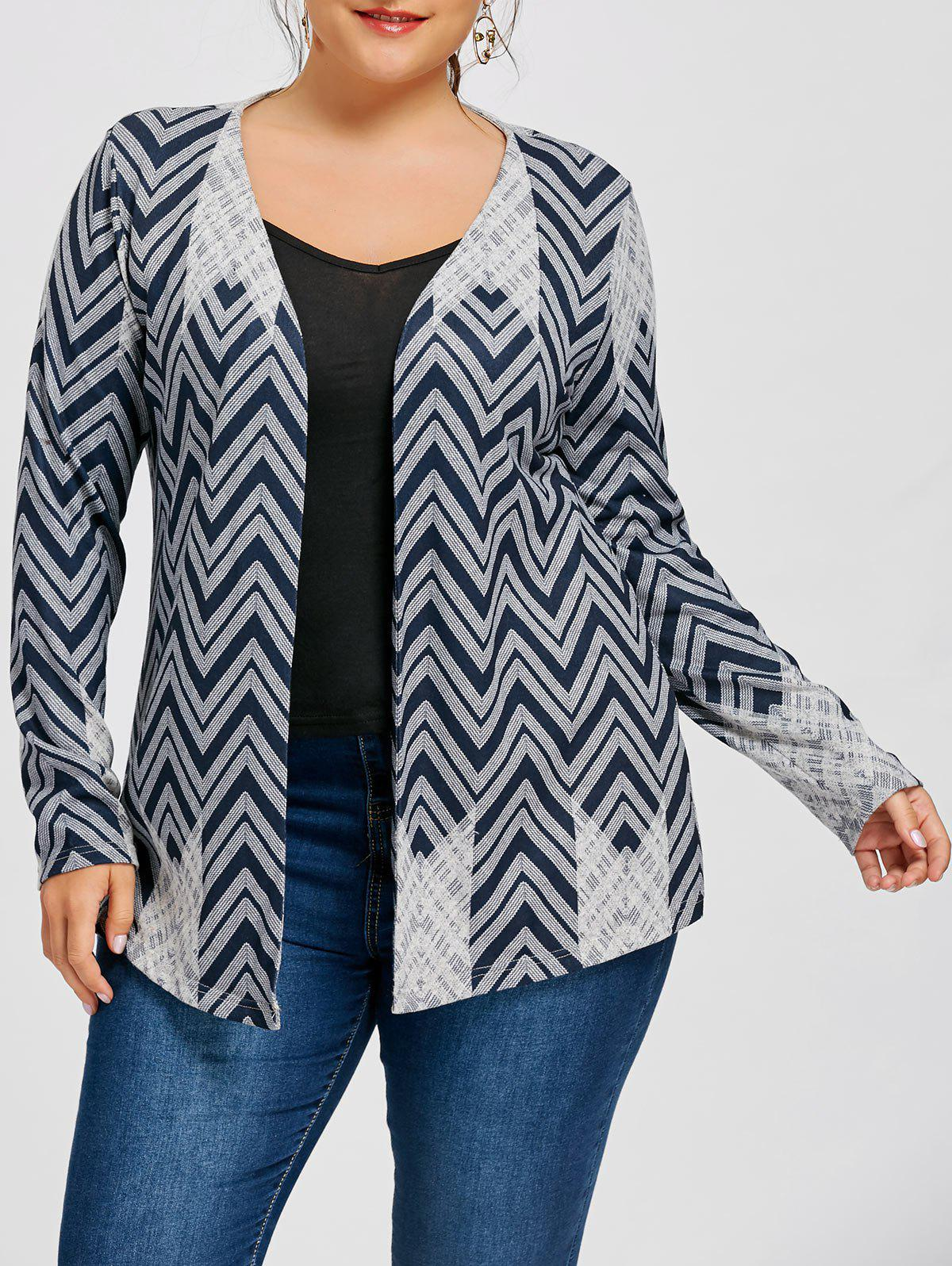 Plus Size Chevron CardiganWOMEN<br><br>Size: 2XL; Color: CADETBLUE; Type: Pullovers; Material: Polyester; Sleeve Length: Full; Collar: Collarless; Style: Casual; Season: Fall,Spring; Pattern Type: Chevron/Zig Zag; Weight: 0.3100kg; Package Contents: 1 x Cardigan;