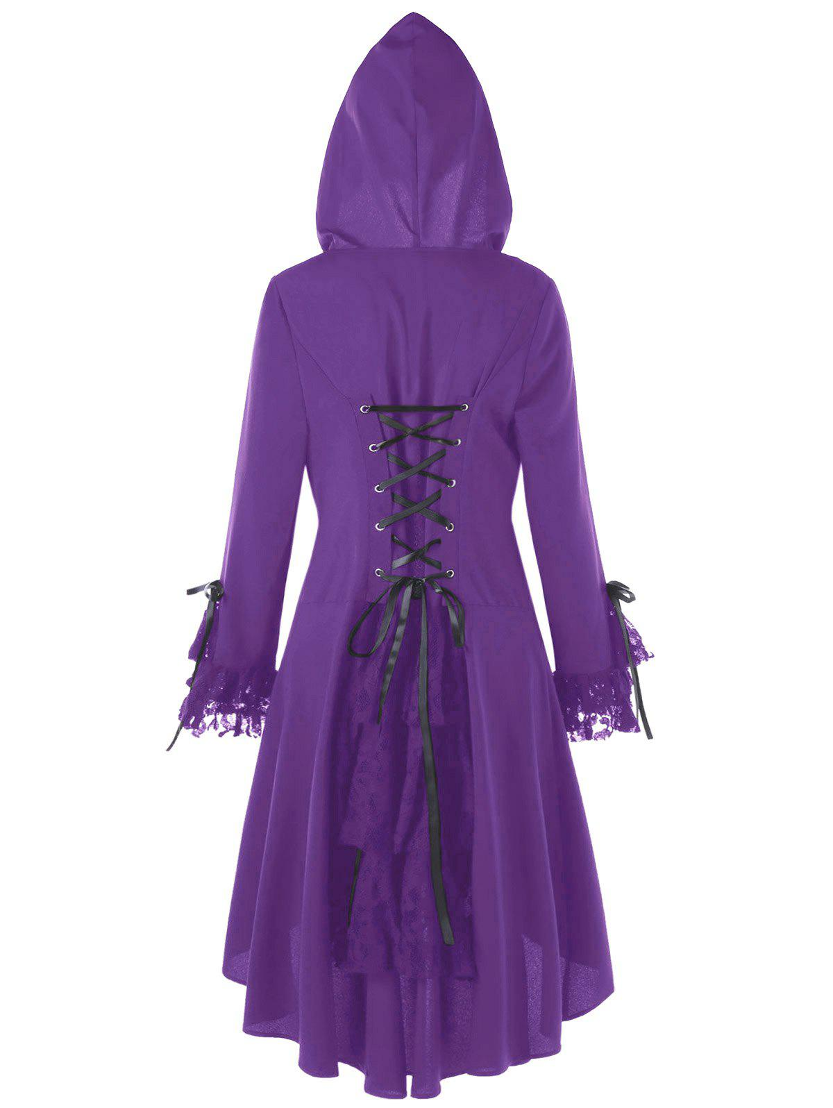 Plus Size Hooded High Low Lace Panel Lace Up CoatWOMEN<br><br>Size: XL; Color: PURPLE; Clothes Type: Others; Material: Cotton,Polyester; Type: Asymmetric Length; Shirt Length: Long; Sleeve Length: Full; Collar: Hooded; Closure Type: Single Breasted; Pattern Type: Others; Embellishment: Criss-Cross,Lace,Panel; Style: Fashion; Season: Winter; With Belt: No; Weight: 0.4700kg; Package Contents: 1 x Coat;
