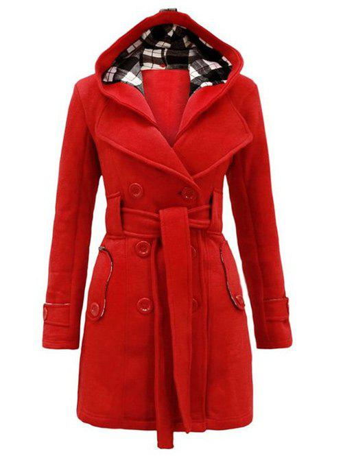 Hooded Double Breasted Trench Coat with BeltWOMEN<br><br>Size: 2XL; Color: RED; Clothes Type: Others; Material: Polyester; Type: High Waist; Shirt Length: Long; Sleeve Length: Full; Collar: Hooded; Pattern Type: Plaid; Style: Fashion; Season: Winter; With Belt: Yes; Weight: 0.6000kg; Package Contents: 1 x Coat  1 x Belt;