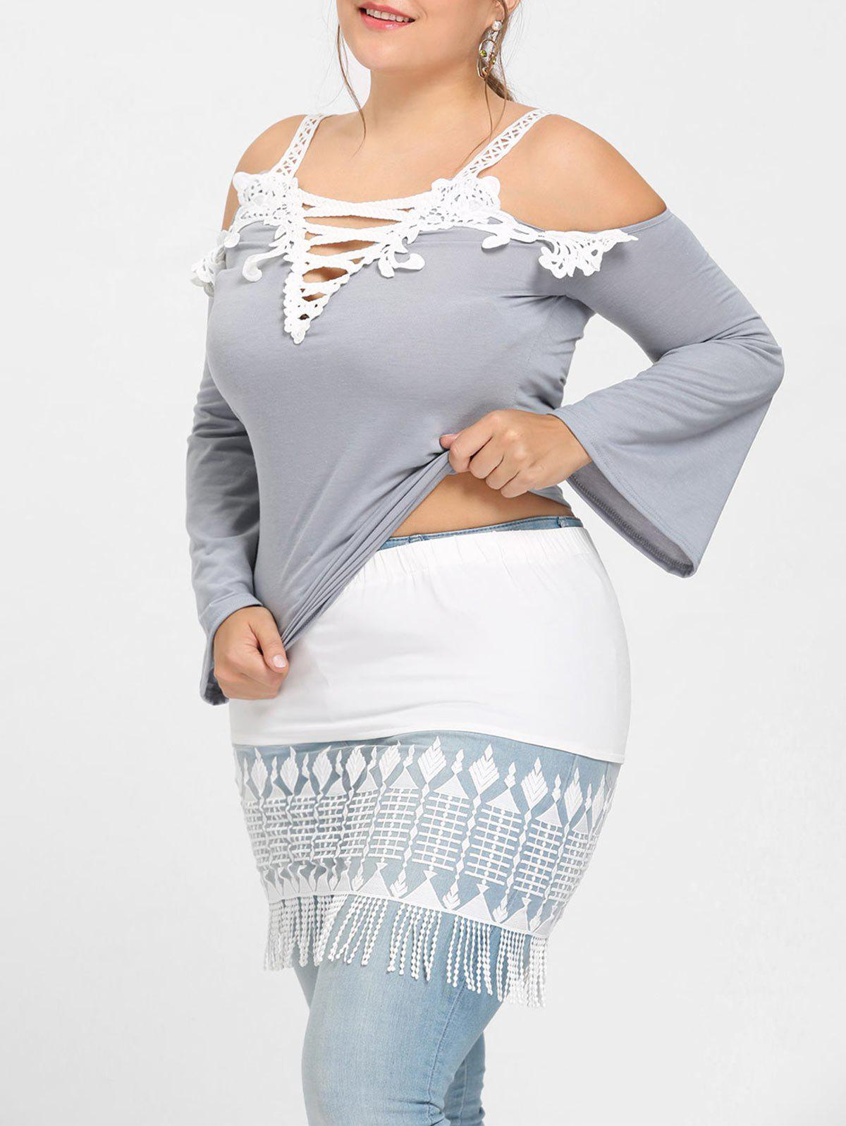 Store See Through Tassel Lace Extender Plus Size Skirt