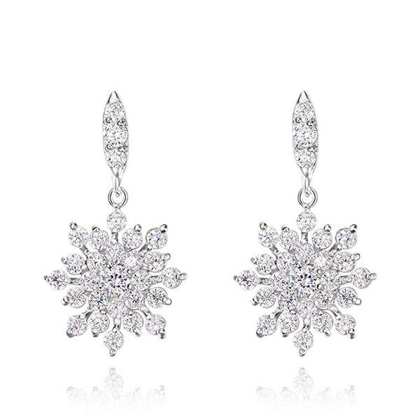 Sparkly Rhinestoned Christmas Snowflake EarringsJEWELRY<br><br>Color: SILVER; Earring Type: Drop Earrings; Gender: For Women; Style: Trendy; Shape/Pattern: Floral; Length: 2.9CM; Weight: 0.0400kg; Package Contents: 1 x Earring (Pair);