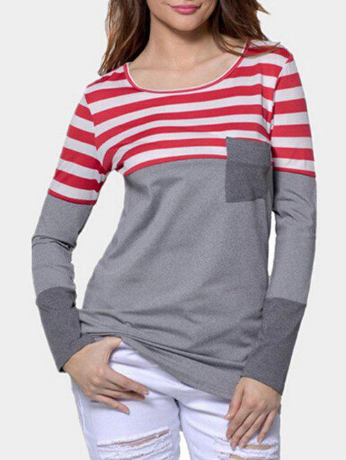 Hot Front Pocket Striped Panel Long Sleeve T-shirt