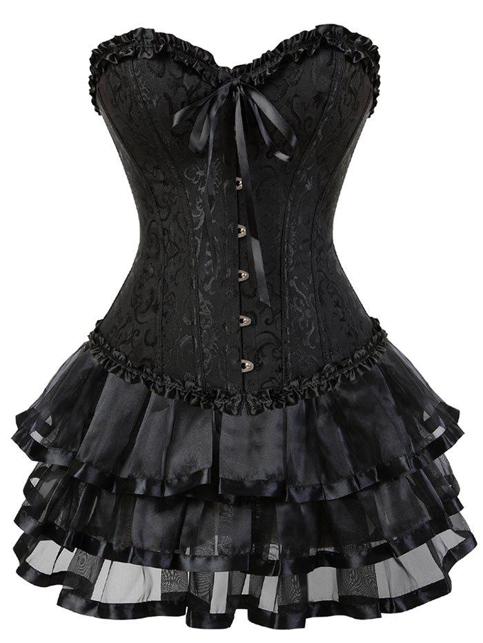 Flounce Two Piece Steel Boned Corset DressWOMEN<br><br>Size: L; Color: BLACK; Material: Polyester,Spandex; Pattern Type: Solid; Embellishment: Criss-Cross; Weight: 0.4000kg; Package Contents: 1 x Corset  1 x Skirt  1 x T Back;