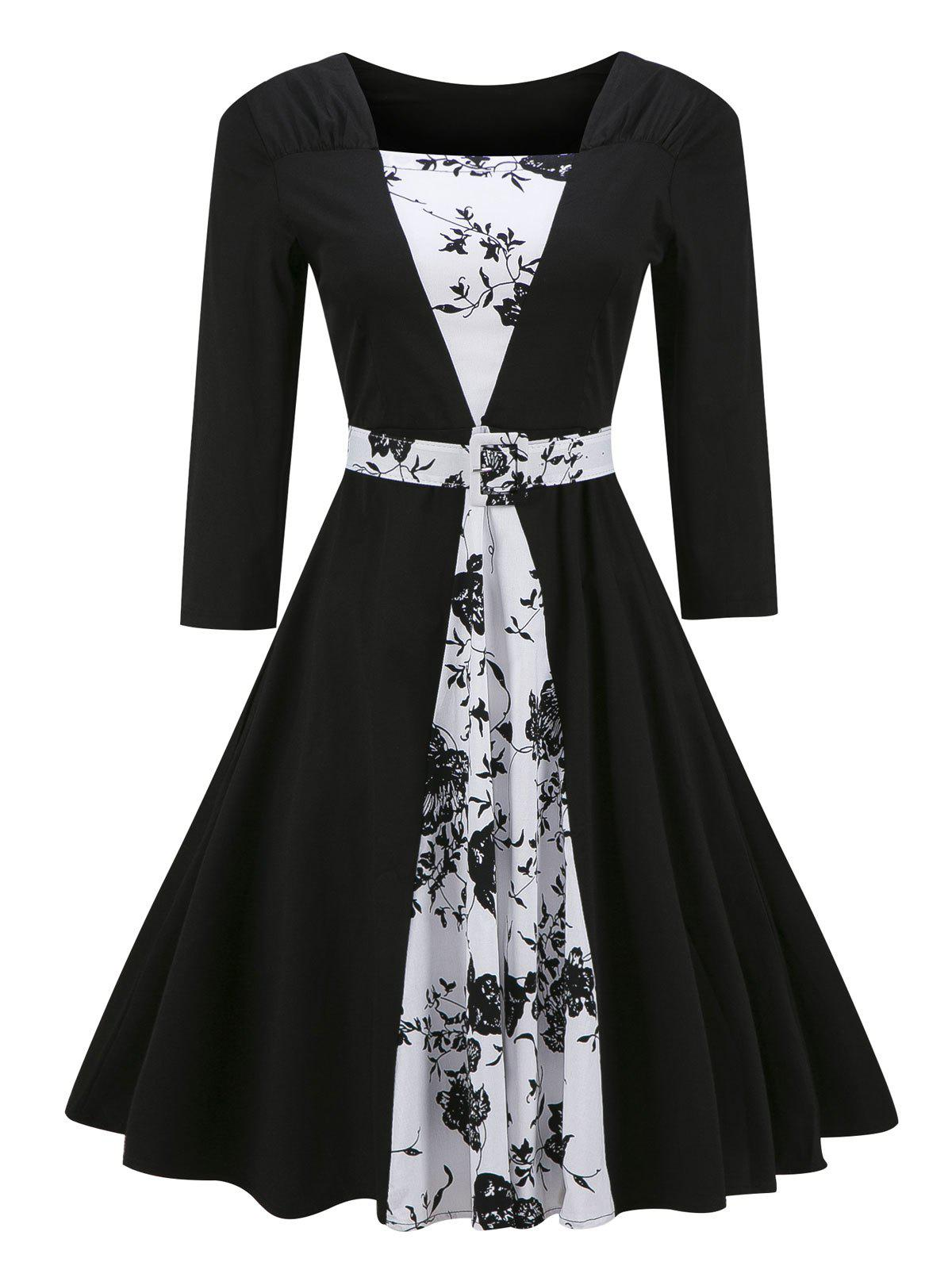 Vintage Color Block Floral Print Pin Up DressWOMEN<br><br>Size: 2XL; Color: BLACK; Style: Vintage; Material: Cotton,Polyester; Silhouette: A-Line; Dresses Length: Knee-Length; Neckline: Square Collar; Sleeve Length: 3/4 Length Sleeves; Pattern Type: Floral; With Belt: Yes; Season: Fall,Spring; Weight: 0.4000kg; Package Contents: 1 x Dress  1 x Belt;