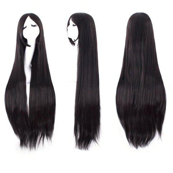 Ultra Long Inclined Bang Straight Synthetic Party WigHAIR<br><br>Color: NATURAL BLACK; Type: Full Wigs; Cap Construction: Capless; Style: Straight; Cap Size: Average; Material: Synthetic Hair; Bang Type: Side; Length: Long; Occasion: Party; Length Size(CM): 80; Weight: 0.2700kg; Package Contents: 1 x Wig;