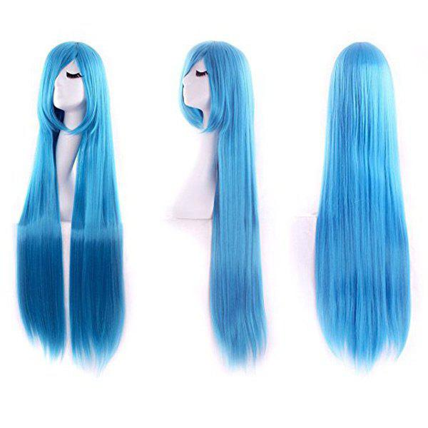 Unique Ultra Long Inclined Bang Straight Synthetic Party Wig