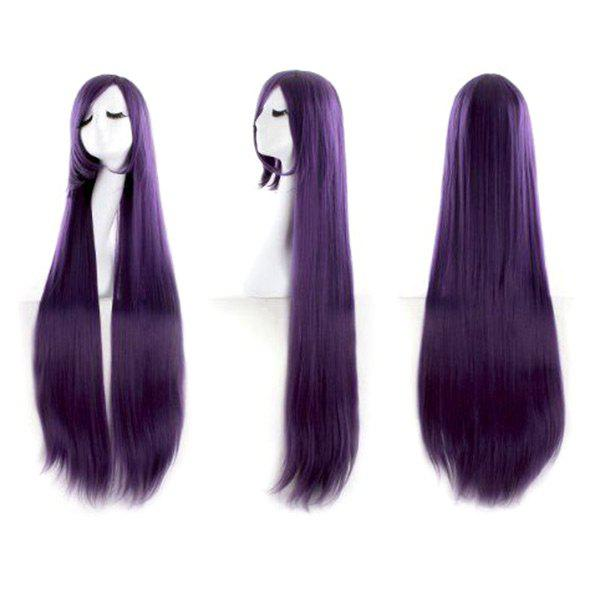 Chic Ultra Long Inclined Bang Straight Synthetic Party Wig