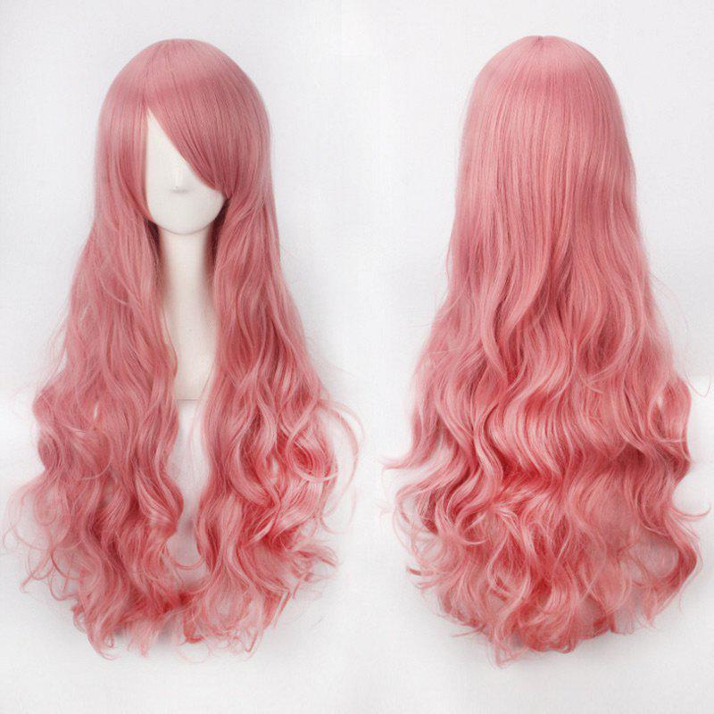 Ultra Long Side Bang Fluffy Curly Synthetic Party WigHAIR<br><br>Color: LIGHT PINK; Type: Full Wigs; Cap Construction: Capless; Style: Curly; Cap Size: Average; Material: Synthetic Hair; Bang Type: Side; Length: Long; Occasion: Party; Length Size(CM): 80; Weight: 0.3000kg; Package Contents: 1 x Wig;