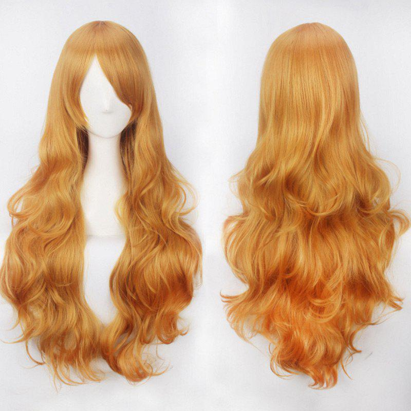 Ultra Long Side Bang Fluffy Curly Synthetic Party WigHAIR<br><br>Color: CITRUS; Type: Full Wigs; Cap Construction: Capless; Style: Curly; Cap Size: Average; Material: Synthetic Hair; Bang Type: Side; Length: Long; Occasion: Party; Length Size(CM): 80; Weight: 0.3000kg; Package Contents: 1 x Wig;