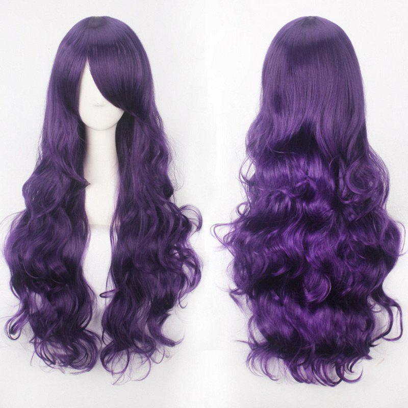Fancy Ultra Long Side Bang Fluffy Curly Synthetic Party Wig