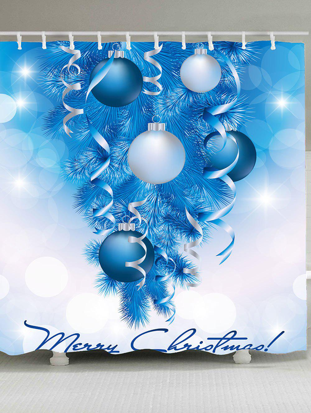 Christmas Tree Decorative Balls Patterned Shower CurtainHOME<br><br>Size: W59 INCH * L71 INCH; Color: BLUE; Products Type: Shower Curtains; Materials: Polyester; Pattern: Ball,Christmas Tree; Style: Festival; Number of Hook Holes: W59 inch * L71 inch:10, W71 inch * L71 inch:12, W71 inch * L79 inch:12; Package Contents: 1 x Shower Curtain 1 x Hooks (Set);
