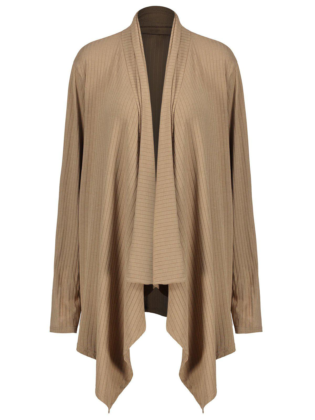 Plus Size Jersey Asymmetric Draped CoatWOMEN<br><br>Size: 4XL; Color: KHAKI; Clothes Type: Trench; Material: Polyester; Type: Asymmetric Length; Shirt Length: Regular; Sleeve Length: Full; Collar: Shawl Collar; Pattern Type: Solid; Style: Casual; Season: Fall,Winter; Weight: 0.4300kg; Package Contents: 1 x Coat;