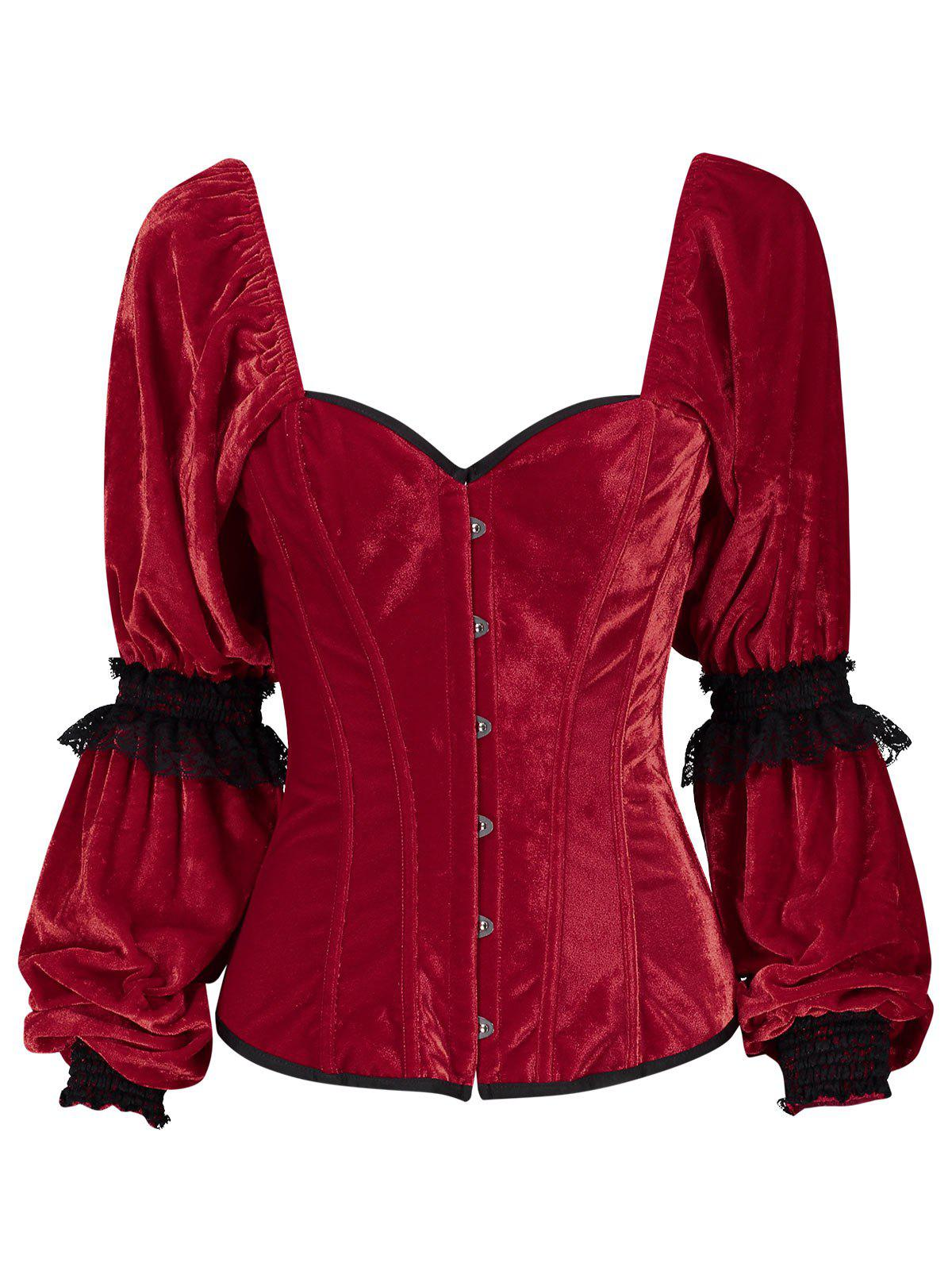 Lantern Sleeve Christmas Velvet CorsetWOMEN<br><br>Size: S; Color: RED; Material: Polyester,Spandex; Fabric Type: Velvet; Pattern Type: Others; Embellishment: Criss-Cross,Lace; Weight: 0.4000kg; Package Contents: 1 x Corset;