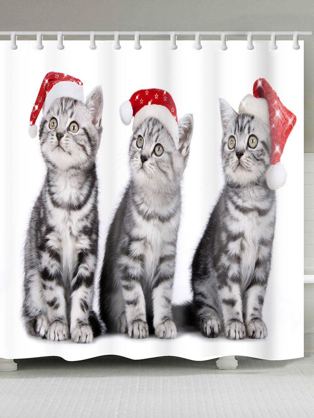 Three Christmas Cats Pattern Shower Bath CurtainHOME<br><br>Size: W71 INCH * L79 INCH; Color: RED + WHITE + GRAY; Products Type: Shower Curtains; Materials: Polyester; Pattern: Animal; Style: Festival; Number of Hook Holes: W59 inch * L71 inch:10, W71 inch * L71 inch:12, W71 inch * L79 inch:12; Package Contents: 1 x Shower Curtain 1 x Hooks (Set);