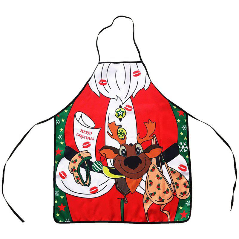 Christmas Theme Santa Print Kitchen ApronHOME<br><br>Color: RED; Type: Apron; Material: Polyester; Weight: 0.5544kg; Package Contents: 1 x Apron;