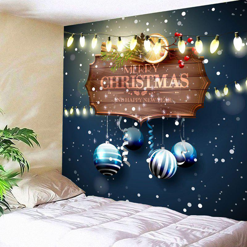 Wall Decor Merry Christmas Balls Pattern TapestryHOME<br><br>Size: W91 INCH * L71 INCH; Color: BLUE; Style: Festival; Theme: Christmas; Material: Nylon,Polyester; Feature: Removable,Washable; Shape/Pattern: Ball,Letter; Weight: 0.3750kg; Package Contents: 1 x Tapestry;