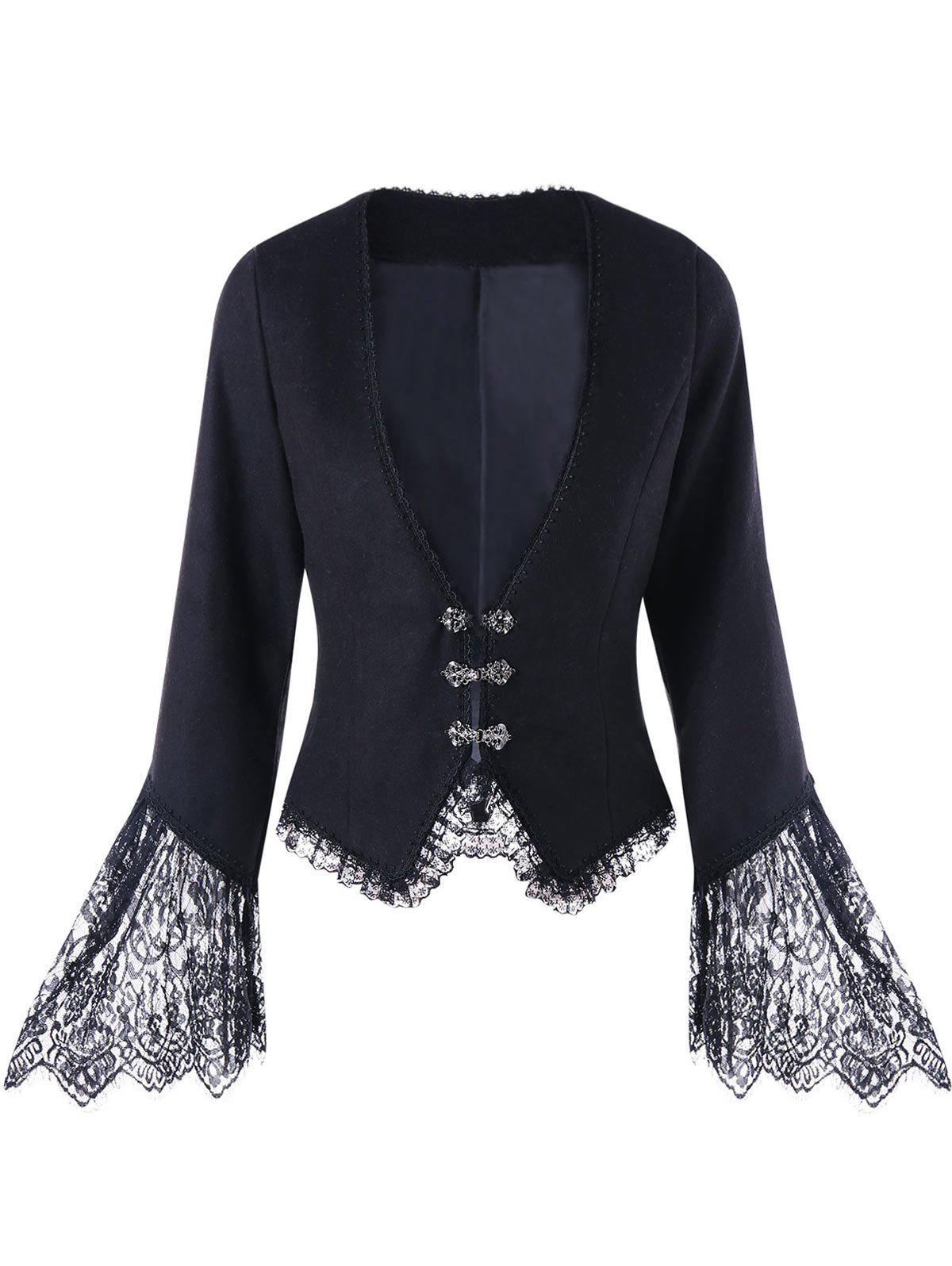 Best Lace Trim Flare Sleeve Plunging Coat