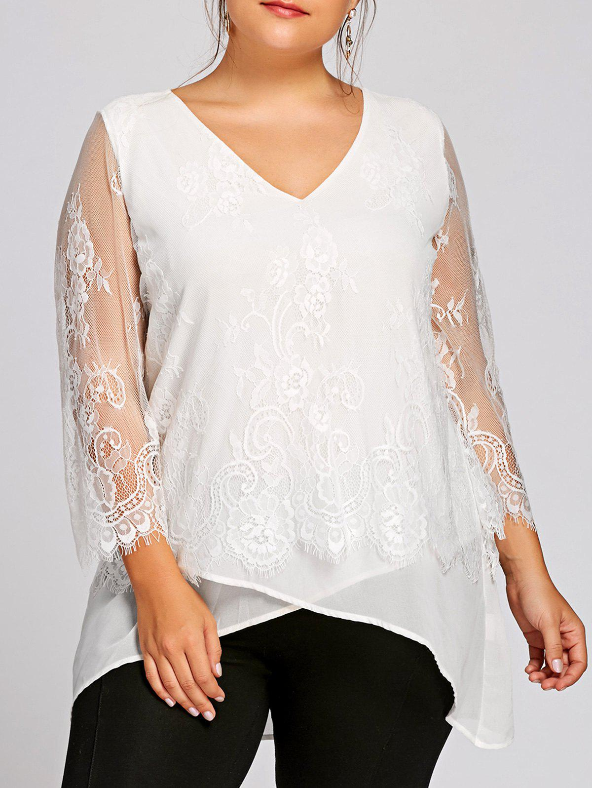 Plus Size Lace Panel V Neck BlouseWOMEN<br><br>Size: XL; Color: WHITE; Material: Polyester; Shirt Length: Long; Sleeve Length: Three Quarter; Collar: V-Neck; Style: Fashion; Season: Fall,Spring; Embellishment: Lace; Pattern Type: Floral; Weight: 0.2200kg; Package Contents: 1 x Blouse;